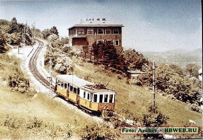 Ancienne carte postale avec le train à crémaillère de Budapest.